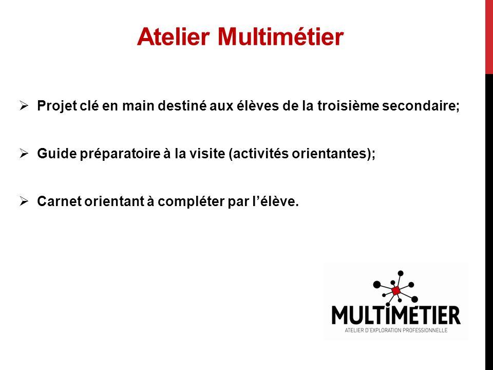 Atelier Multimétier Projet clé en main destiné aux élèves de la troisième secondaire; Guide préparatoire à la visite (activités orientantes); Carnet orientant à compléter par lélève.