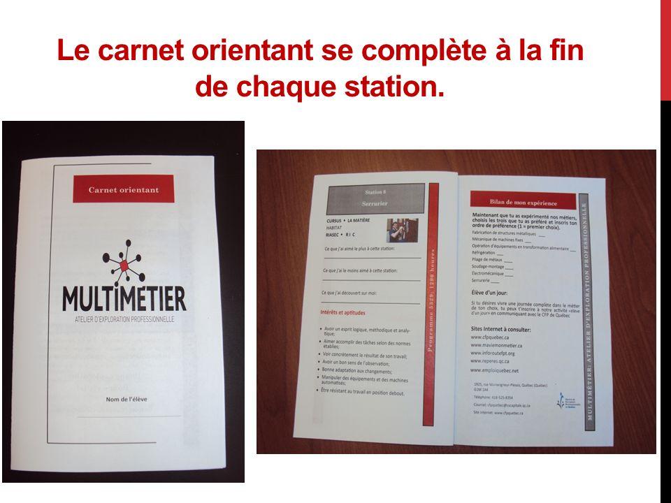 Le carnet orientant se complète à la fin de chaque station.