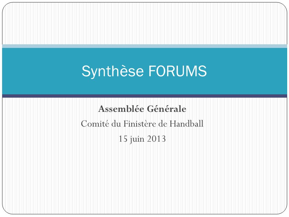 Assemblée Générale Comité du Finistère de Handball 15 juin 2013 Synthèse FORUMS