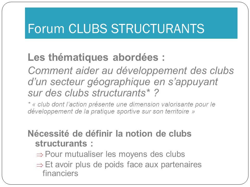 Forum CLUBS STRUCTURANTS Les thématiques abordées : Comment aider au développement des clubs dun secteur géographique en sappuyant sur des clubs struc