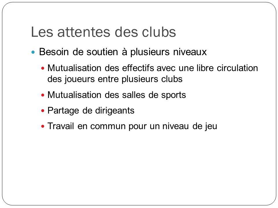 Les attentes des clubs Besoin de soutien à plusieurs niveaux Mutualisation des effectifs avec une libre circulation des joueurs entre plusieurs clubs Mutualisation des salles de sports Partage de dirigeants Travail en commun pour un niveau de jeu