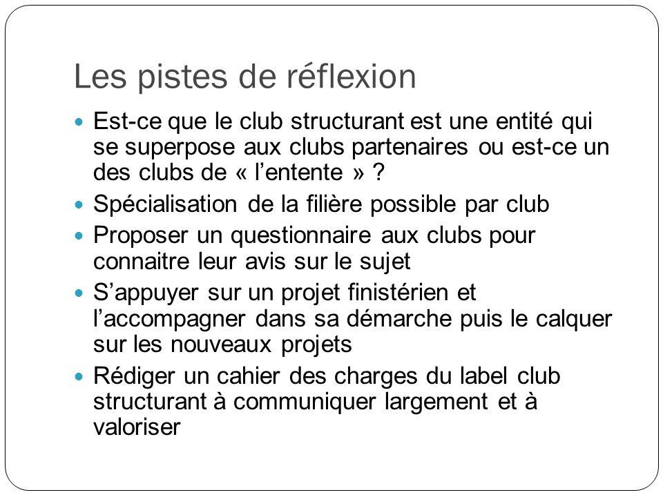 Les pistes de réflexion Est-ce que le club structurant est une entité qui se superpose aux clubs partenaires ou est-ce un des clubs de « lentente » .