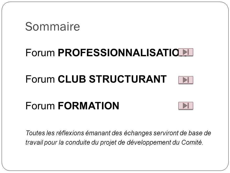 Sommaire Forum PROFESSIONNALISATION Forum CLUB STRUCTURANT Forum FORMATION Toutes les réflexions émanant des échanges serviront de base de travail pour la conduite du projet de développement du Comité.
