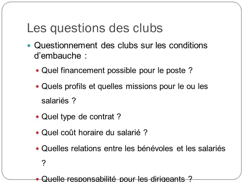 Les questions des clubs Questionnement des clubs sur les conditions dembauche : Quel financement possible pour le poste ? Quels profils et quelles mis