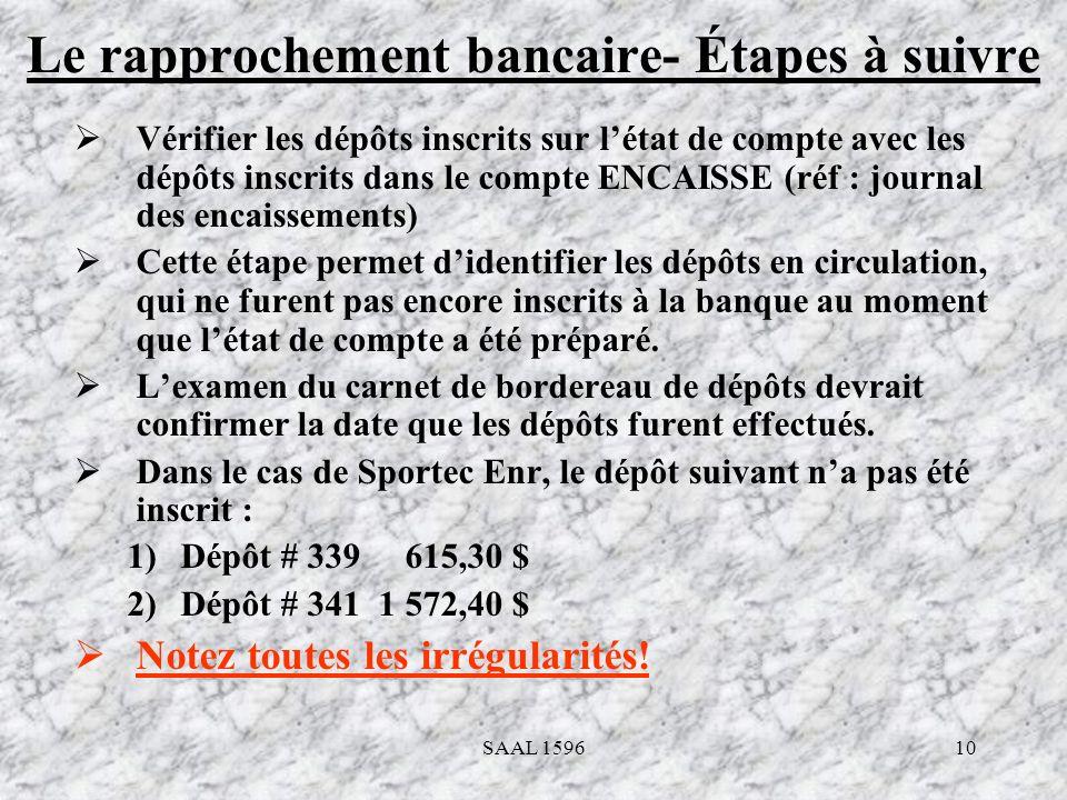10 Le rapprochement bancaire- Étapes à suivre Vérifier les dépôts inscrits sur létat de compte avec les dépôts inscrits dans le compte ENCAISSE (réf :