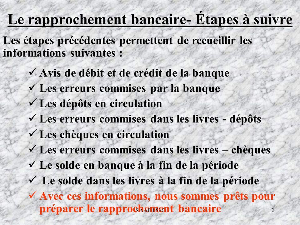 12 Le rapprochement bancaire- Étapes à suivre Avis de débit et de crédit de la banque Les erreurs commises par la banque Les dépôts en circulation Les