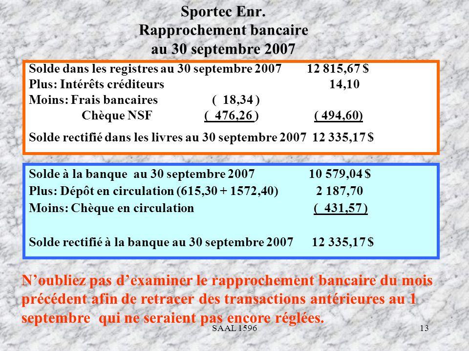 13 Sportec Enr. Rapprochement bancaire au 30 septembre 2007 Solde dans les registres au 30 septembre 2007 12 815,67 $ Plus: Intérêts créditeurs 14,10