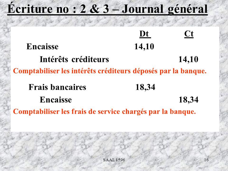 16 Écriture no : 2 & 3 – Journal général Dt Ct Encaisse 14,10 Intérêts créditeurs 14,10 Comptabiliser les intérêts créditeurs déposés par la banque. F