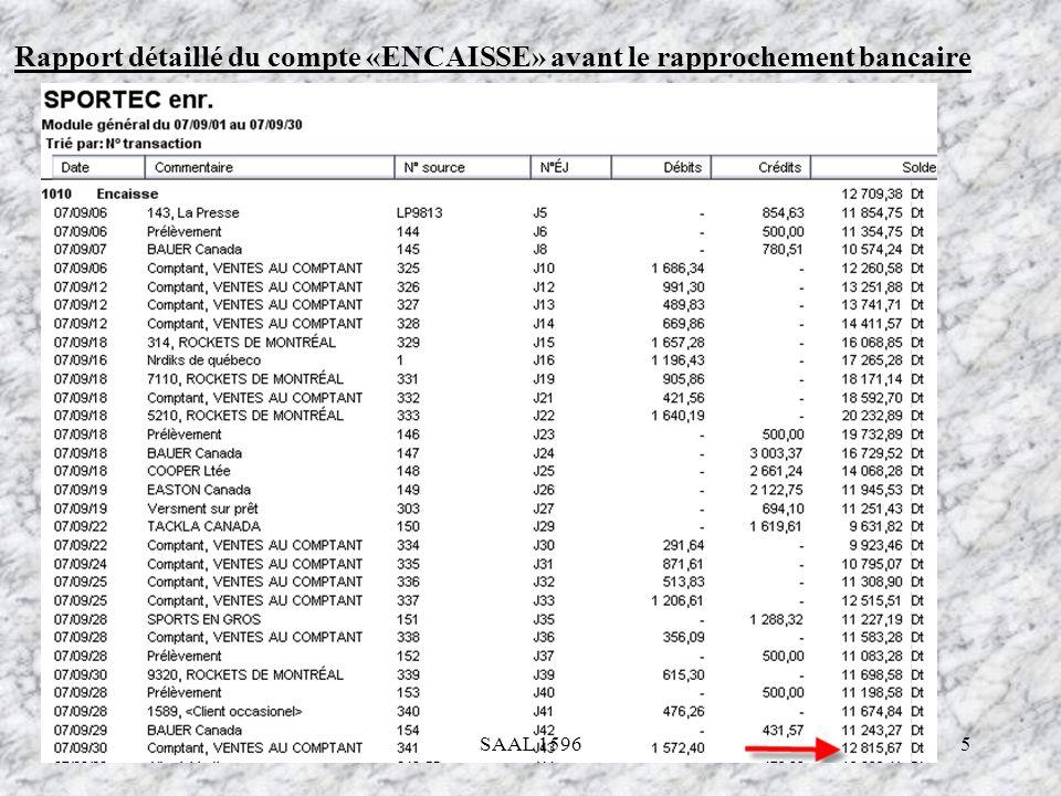 6 Le rapprochement bancaire Dans les livres de lentreprise Sportec Enr, il faut préparer le rapprochement bancaire en date du 30 septembre 2007 SAAL 1596
