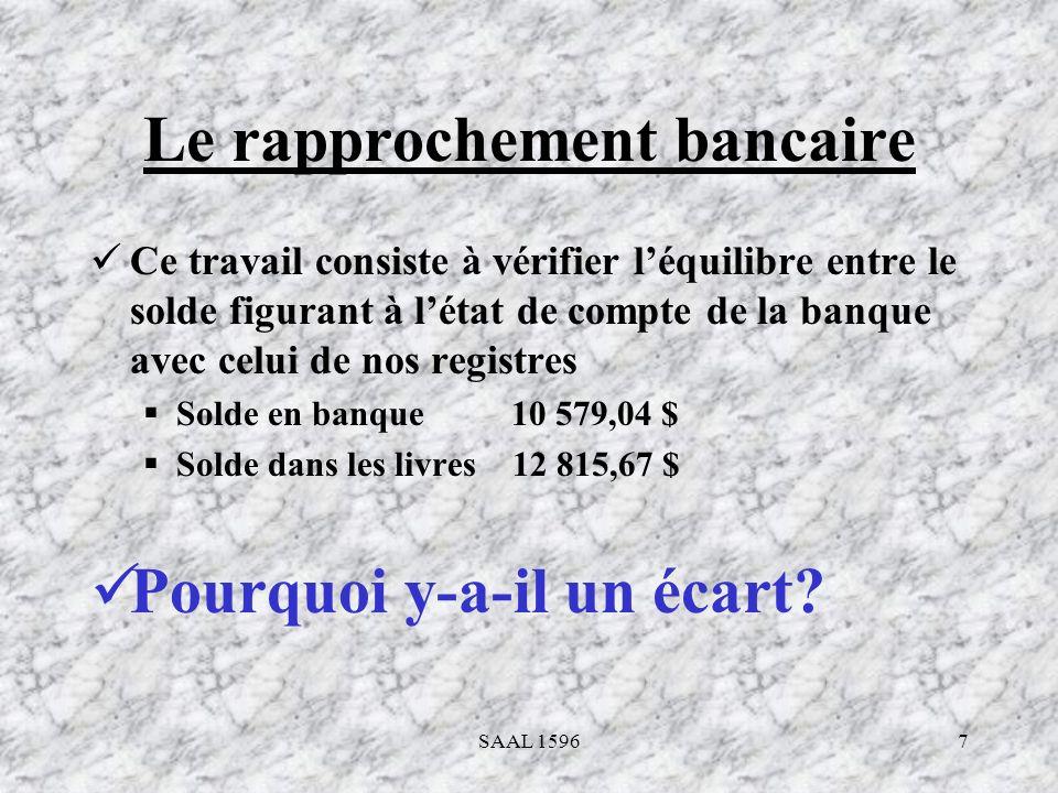 7 Le rapprochement bancaire Ce travail consiste à vérifier léquilibre entre le solde figurant à létat de compte de la banque avec celui de nos registr