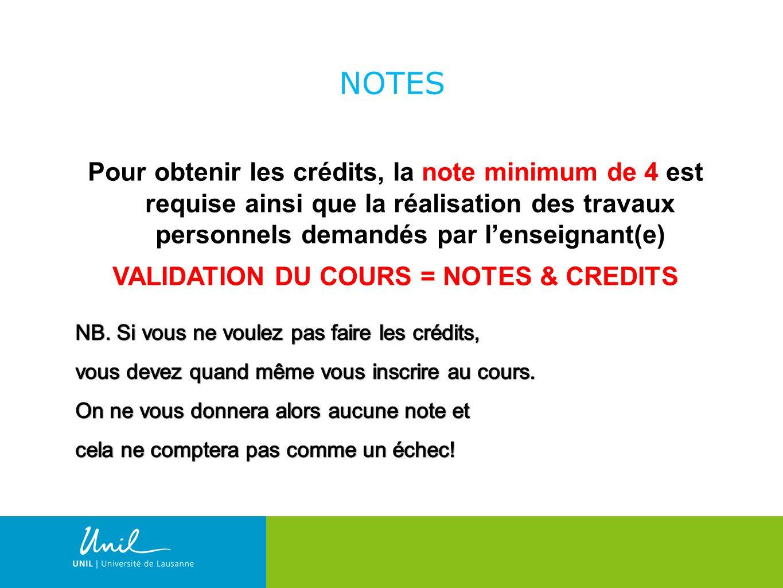 16 NOTES Pour obtenir les crédits, la note minimum de 4 est requise ainsi que la réalisation des travaux personnels demandés par lenseignant(e) VALIDATION DU COURS = NOTES & CREDITS
