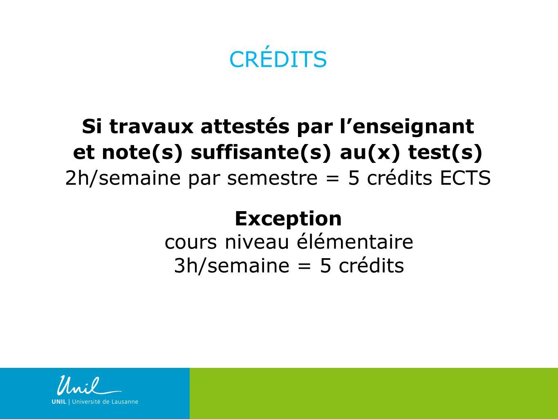 17 CRÉDITS Si travaux attestés par lenseignant et note(s) suffisante(s) au(x) test(s) 2h/semaine par semestre = 5 crédits ECTS Exception cours niveau