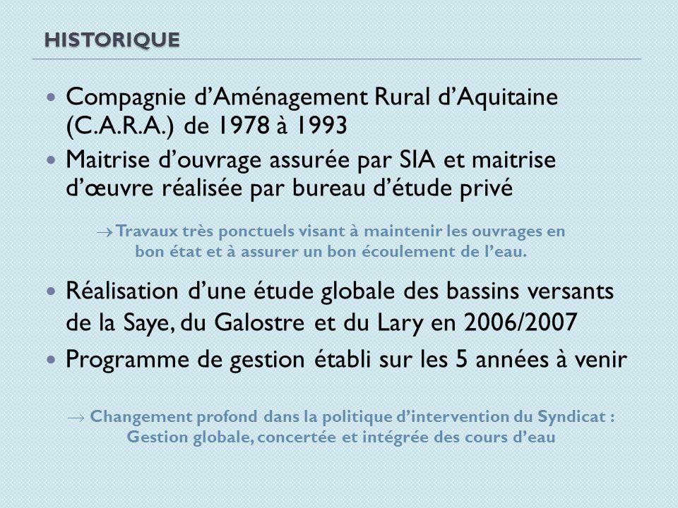 HISTORIQUE Compagnie dAménagement Rural dAquitaine (C.A.R.A.) de 1978 à 1993 Maitrise douvrage assurée par SIA et maitrise dœuvre réalisée par bureau