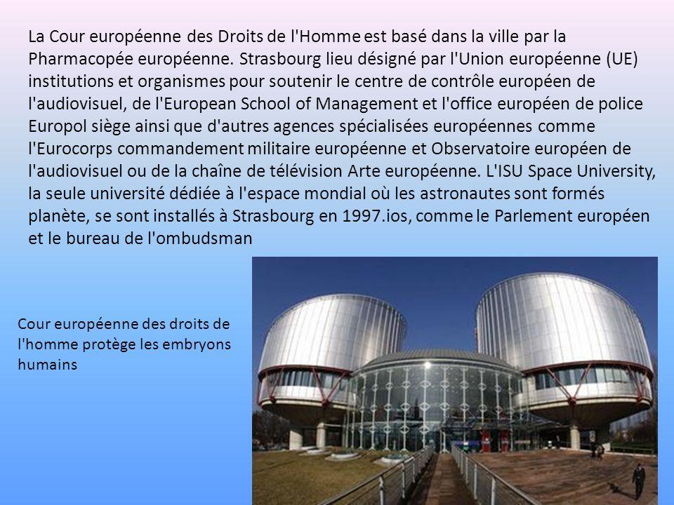 La Cour européenne des Droits de l'Homme est basé dans la ville par la Pharmacopée européenne. Strasbourg lieu désigné par l'Union européenne (UE) ins