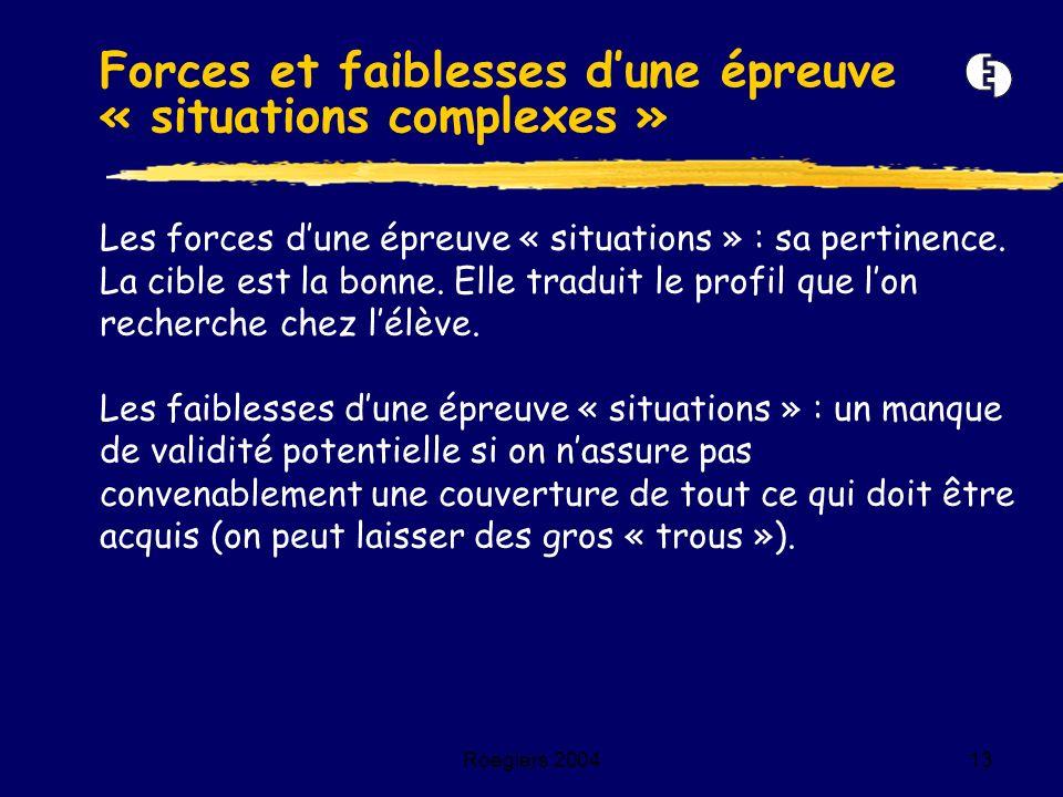 Roegiers 200413 Les forces dune épreuve « situations » : sa pertinence. La cible est la bonne. Elle traduit le profil que lon recherche chez lélève. L