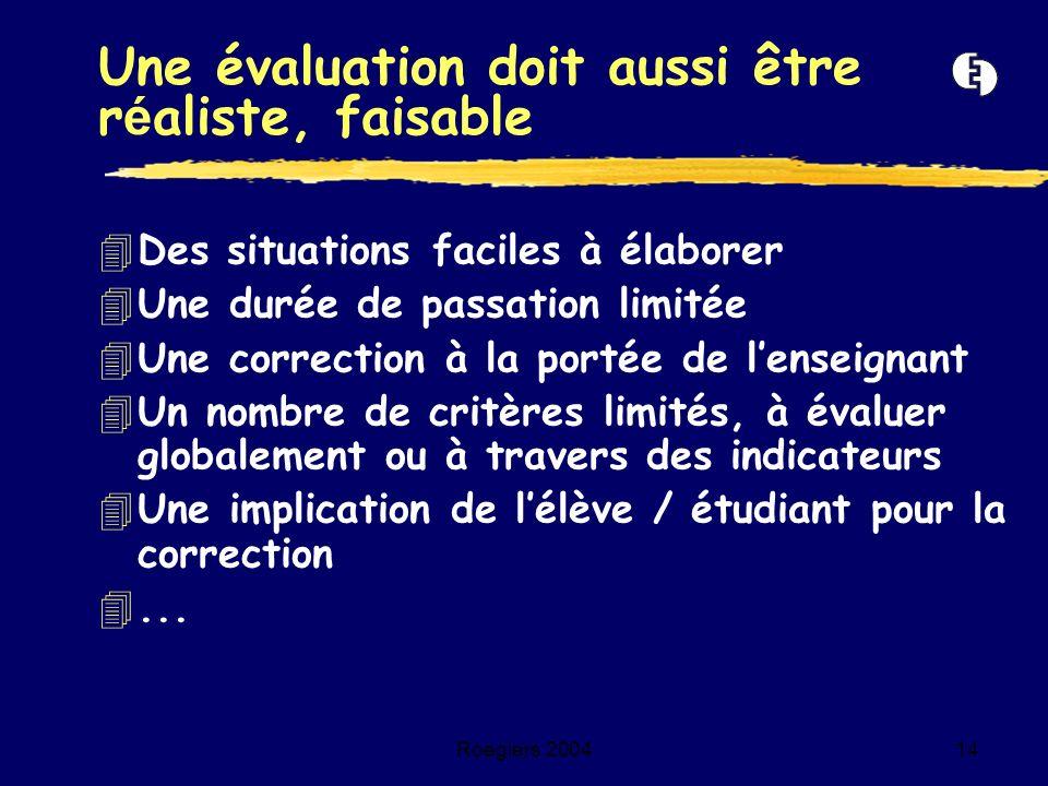 Roegiers 200414 4Des situations faciles à élaborer 4Une durée de passation limitée 4Une correction à la portée de lenseignant 4Un nombre de critères l