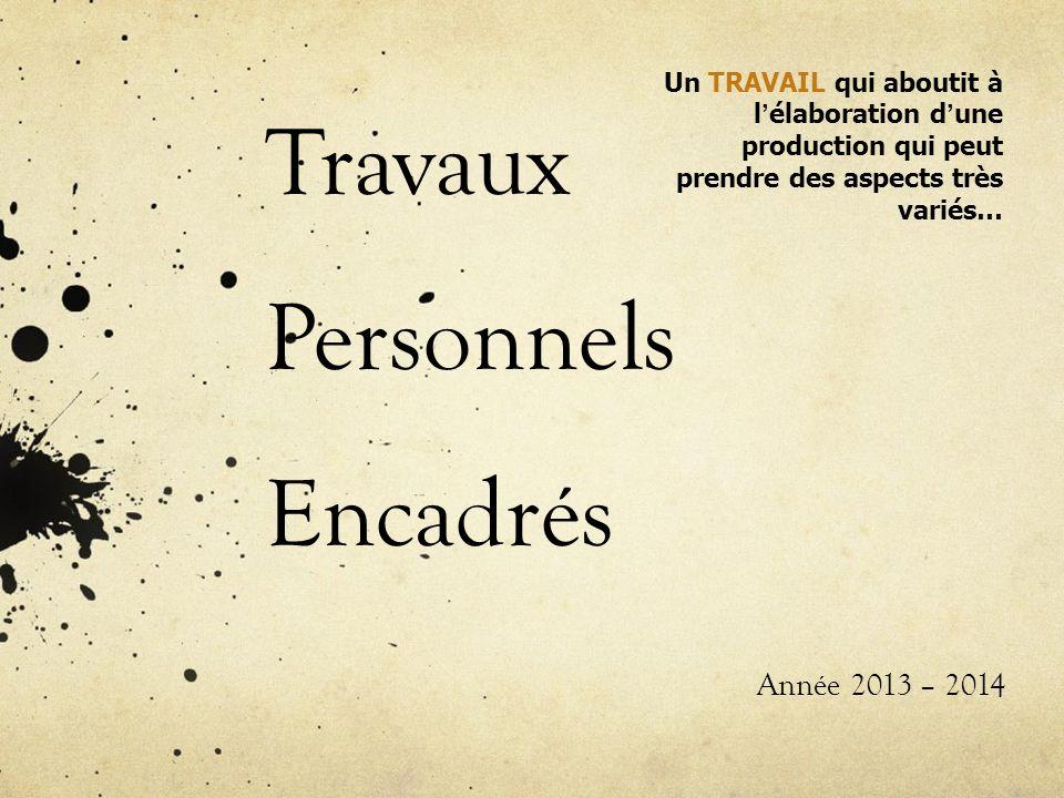 Travaux Personnels Encadrés Année 2013 – 2014 Un TRAVAIL qui aboutit à l élaboration d une production qui peut prendre des aspects très variés…