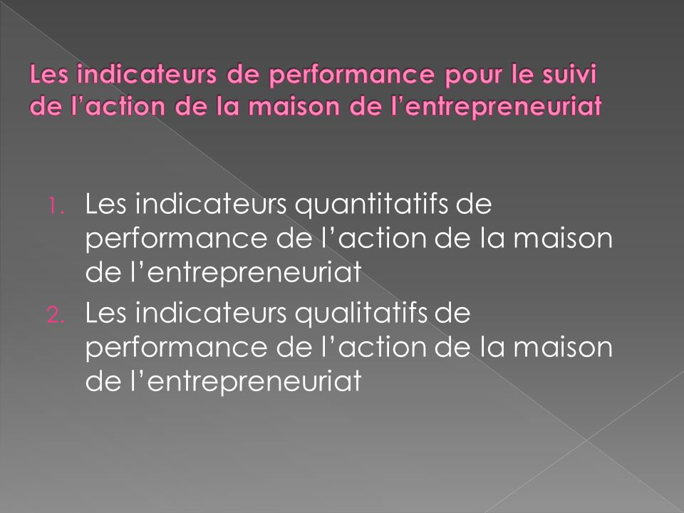 1. Les indicateurs quantitatifs de performance de laction de la maison de lentrepreneuriat 2.
