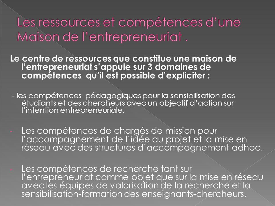 Le centre de ressources que constitue une maison de lentrepreneuriat sappuie sur 3 domaines de compétences quil est possible dexpliciter : - les compé