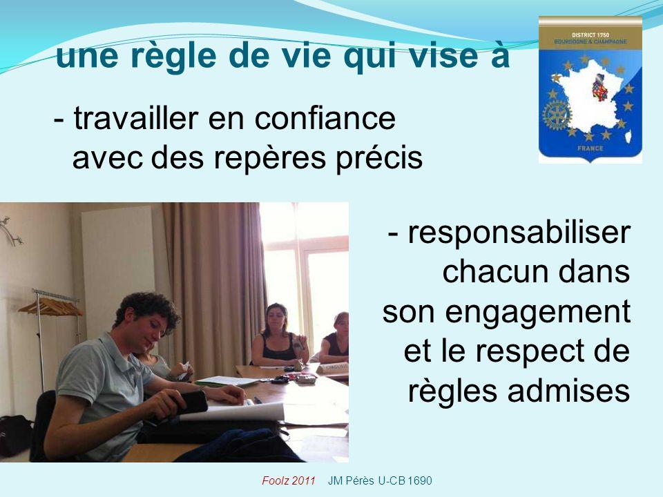 - travailler en confiance avec des repères précis une règle de vie qui vise à Foolz 2011 JM Pérès U-CB 1690 - responsabiliser chacun dans son engagement et le respect de règles admises