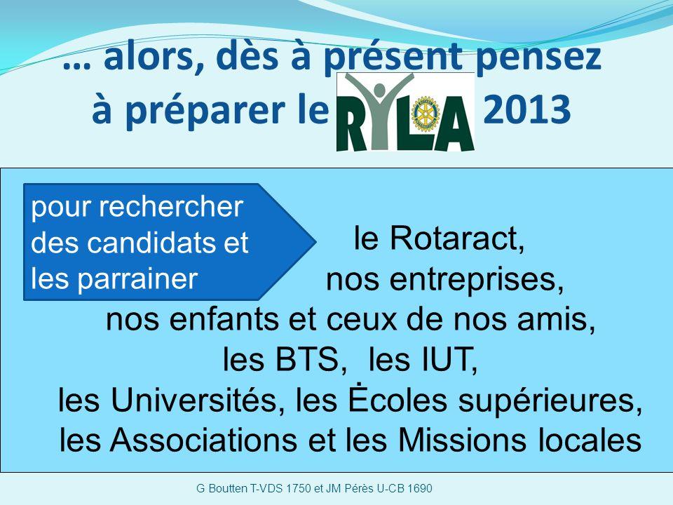 … alors, dès à présent pensez à préparer le 2013 G Boutten T-VDS 1750 et JM Pérès U-CB 1690 le Rotaract, nos entreprises, nos enfants et ceux de nos amis, les BTS, les IUT, les Universités, les Ėcoles supérieures, les Associations et les Missions locales pour rechercher des candidats et les parrainer