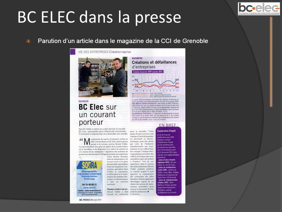 BC ELEC dans la presse Parution dun article dans le magazine de la CCI de Grenoble
