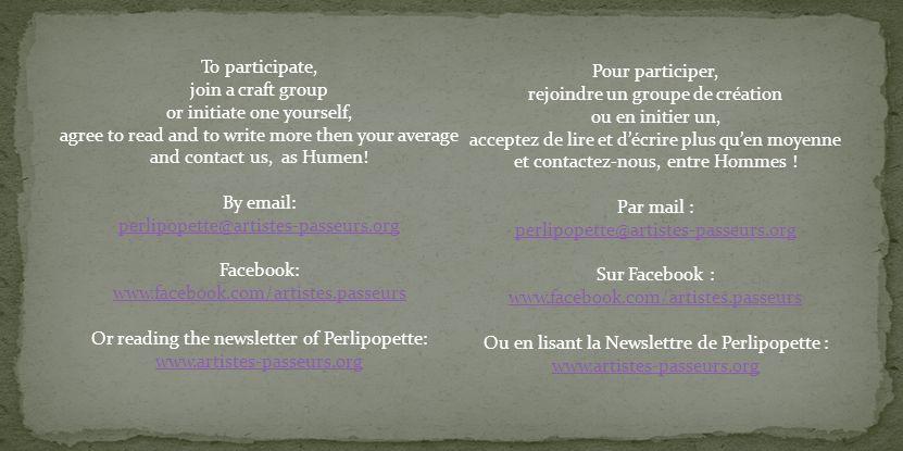 Pour participer, rejoindre un groupe de création ou en initier un, acceptez de lire et décrire plus quen moyenne et contactez-nous, entre Hommes .
