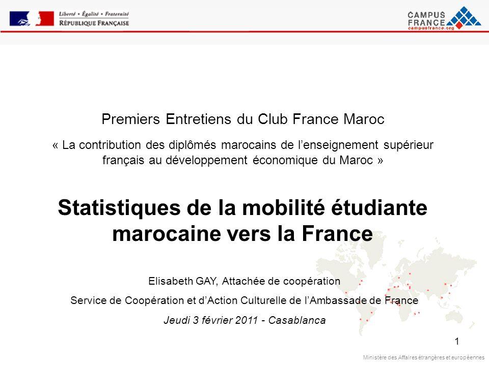 1 Ministère des Affaires étrangères et européennes Premiers Entretiens du Club France Maroc « La contribution des diplômés marocains de lenseignement