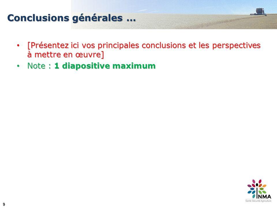 9 Conclusions générales … [Présentez ici vos principales conclusions et les perspectives à mettre en œuvre] [Présentez ici vos principales conclusions