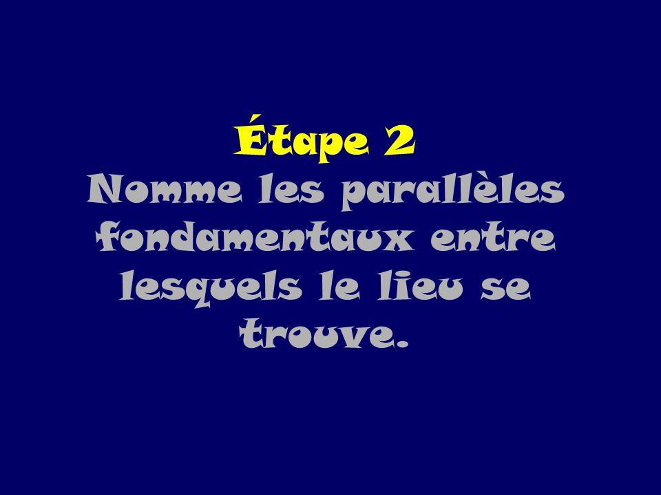 Étape 2 Nomme les parallèles fondamentaux entre lesquels le lieu se trouve.
