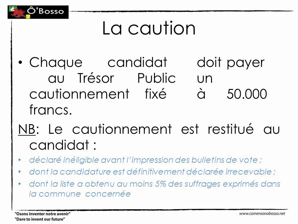 La caution Chaquecandidatdoitpayer auTrésorPublicun cautionnement fixéà50.000 francs. NB: Le cautionnement est restitué au candidat : déclaré inéligib