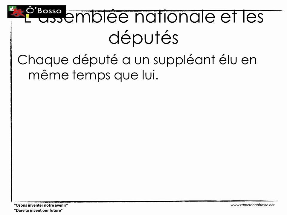Lassemblée nationale et les députés Chaque député a un suppléant élu en même temps que lui.