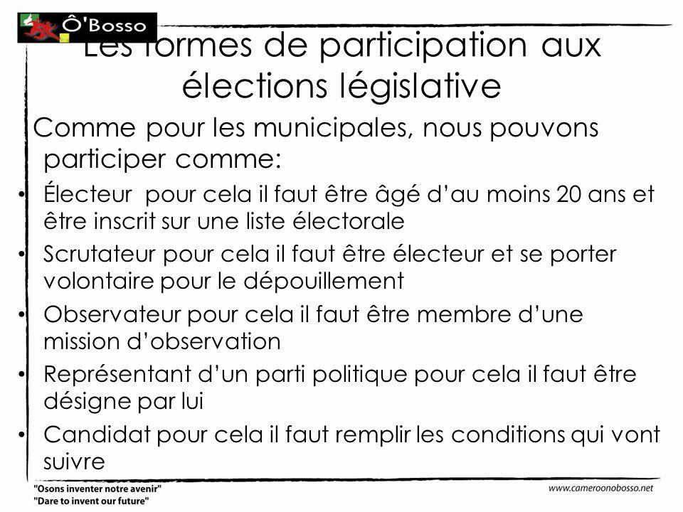 Les formes de participation aux élections législative Comme pour les municipales, nous pouvons participer comme: Électeur pour cela il faut être âgé d