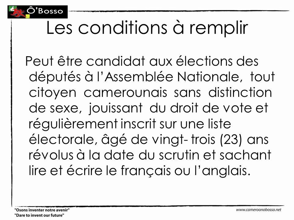 Les conditions à remplir Peut être candidat aux élections des députés à lAssemblée Nationale, tout citoyen camerounais sans distinction de sexe, jouis