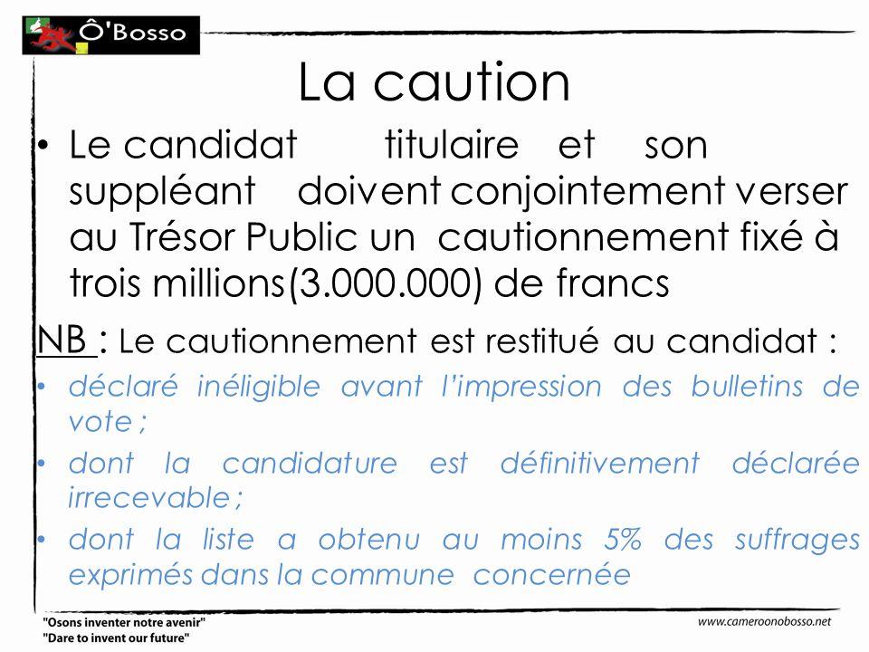 La caution Lecandidattitulaireetson suppléantdoivent conjointement verser au Trésor Public un cautionnement fixé à trois millions(3.000.000) de francs