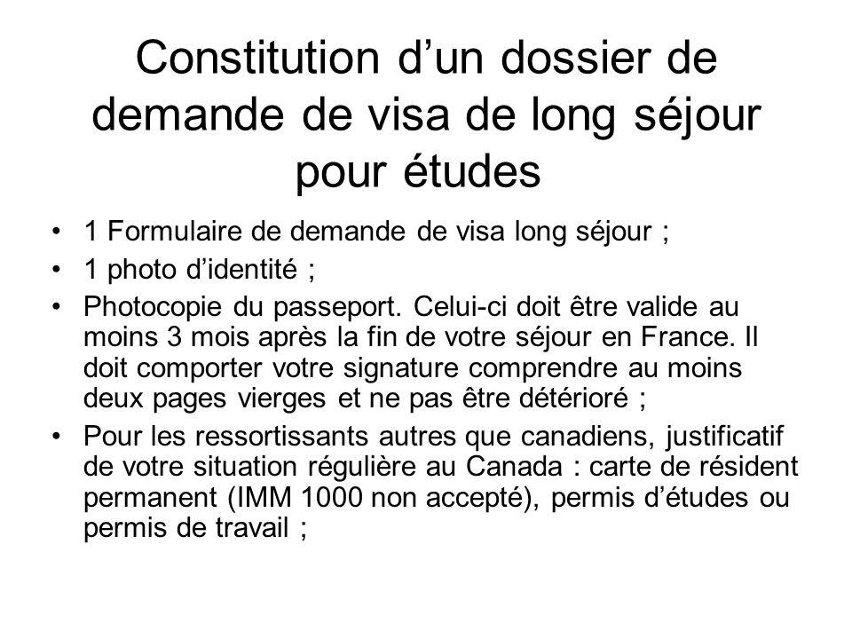 dossier de demande de visa de long séjour pour études 1 Formulaire ...