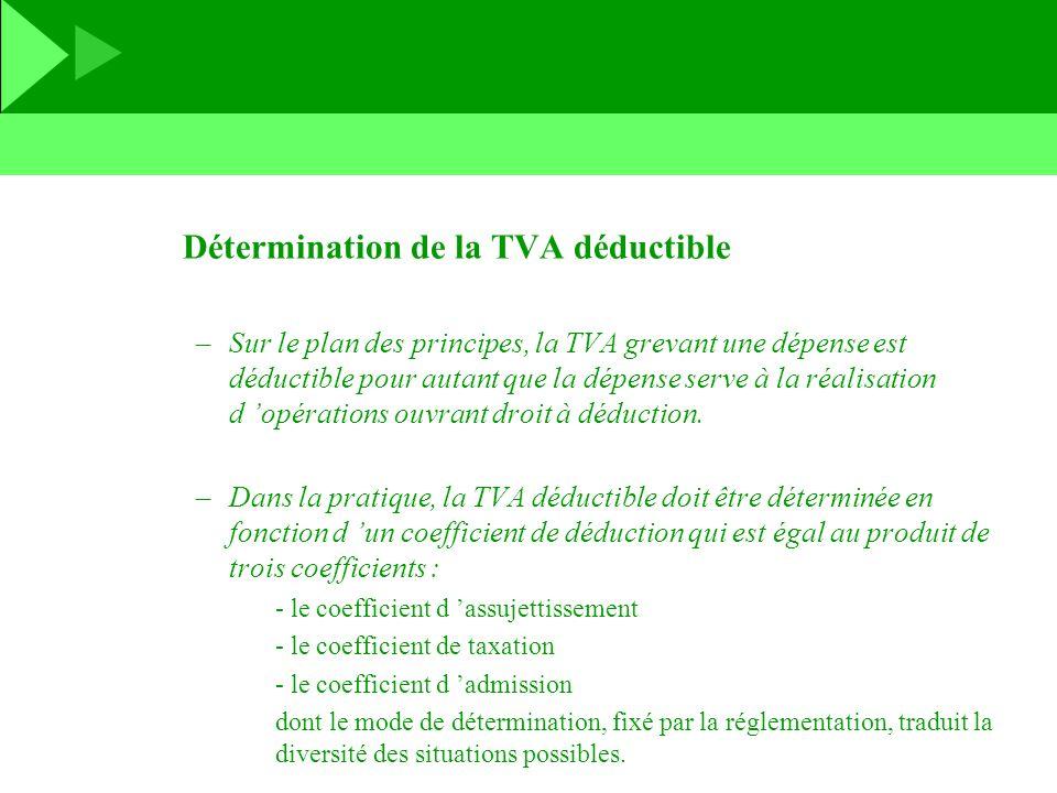 Détermination de la TVA déductible –Sur le plan des principes, la TVA grevant une dépense est déductible pour autant que la dépense serve à la réalisa
