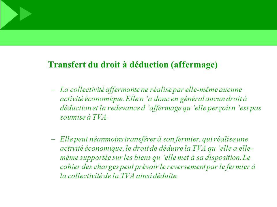 Transfert du droit à déduction (affermage) –La collectivité affermante ne réalise par elle-même aucune activité économique. Elle n a donc en général a
