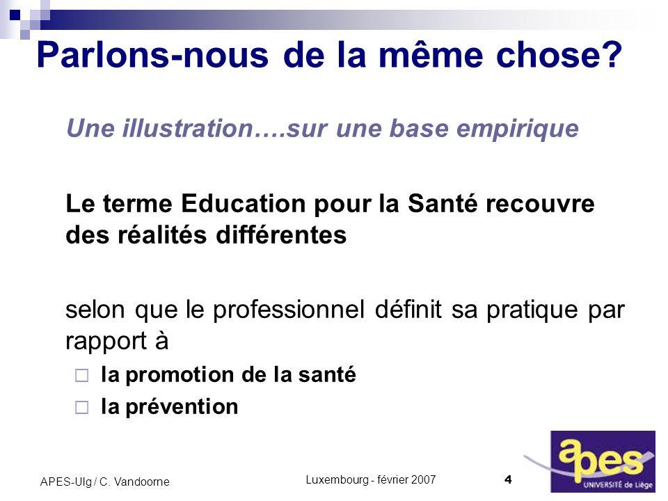 Luxembourg - février 2007 4 APES-Ulg / C. Vandoorne Parlons-nous de la même chose? Une illustration….sur une base empirique Le terme Education pour la