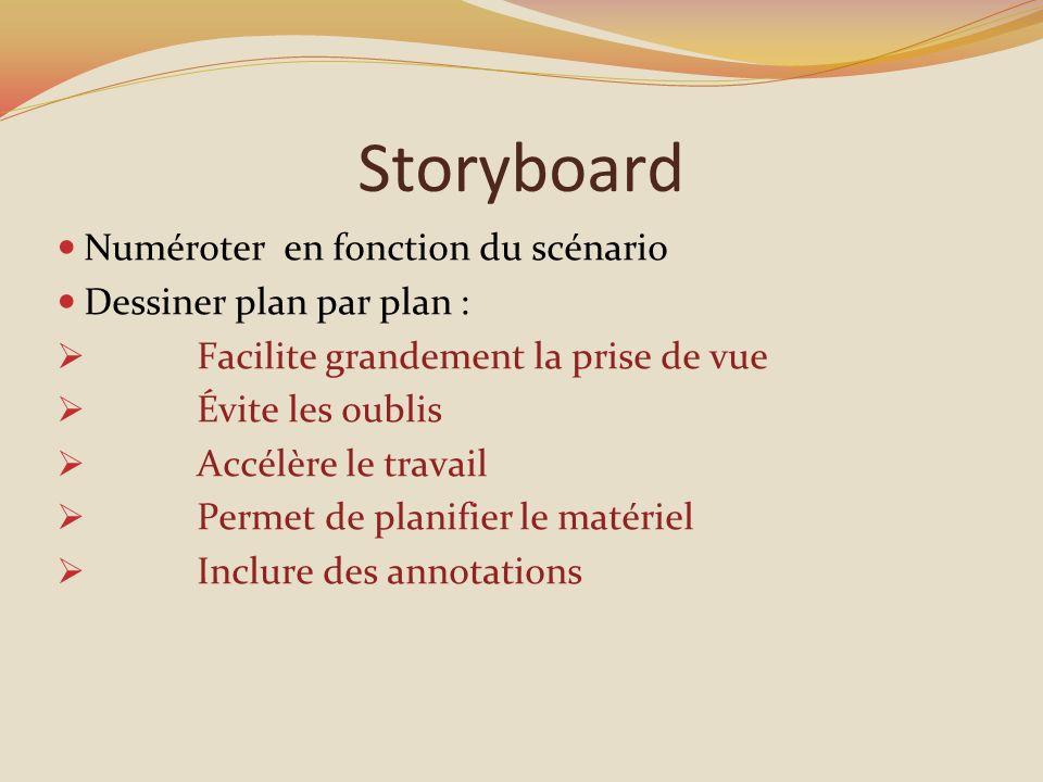 Storyboard Numéroter en fonction du scénario Dessiner plan par plan : Facilite grandement la prise de vue Évite les oublis Accélère le travail Permet de planifier le matériel Inclure des annotations