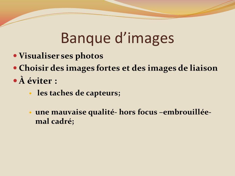Banque dimages Visualiser ses photos Choisir des images fortes et des images de liaison À éviter : les taches de capteurs; une mauvaise qualité- hors focus –embrouillée- mal cadré;