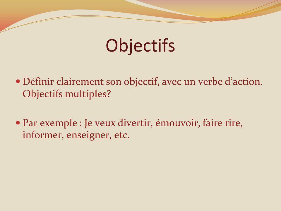 Objectifs Définir clairement son objectif, avec un verbe daction.