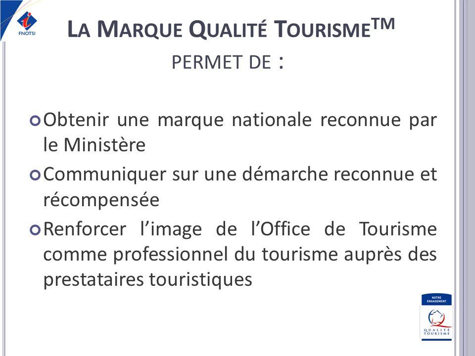 Positionner lOffice de Tourisme comme réfèrent Qualité auprès de ses partenaires Améliorer linterface entre le territoire et ses visiteurs Renforcer le réseau des Offices de Tourisme L A M ARQUE Q UALITÉ T OURISME TM PERMET DE :
