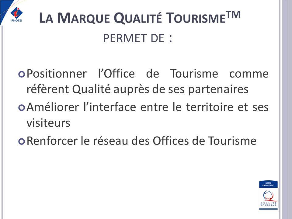 Positionner lOffice de Tourisme comme réfèrent Qualité auprès de ses partenaires Améliorer linterface entre le territoire et ses visiteurs Renforcer l