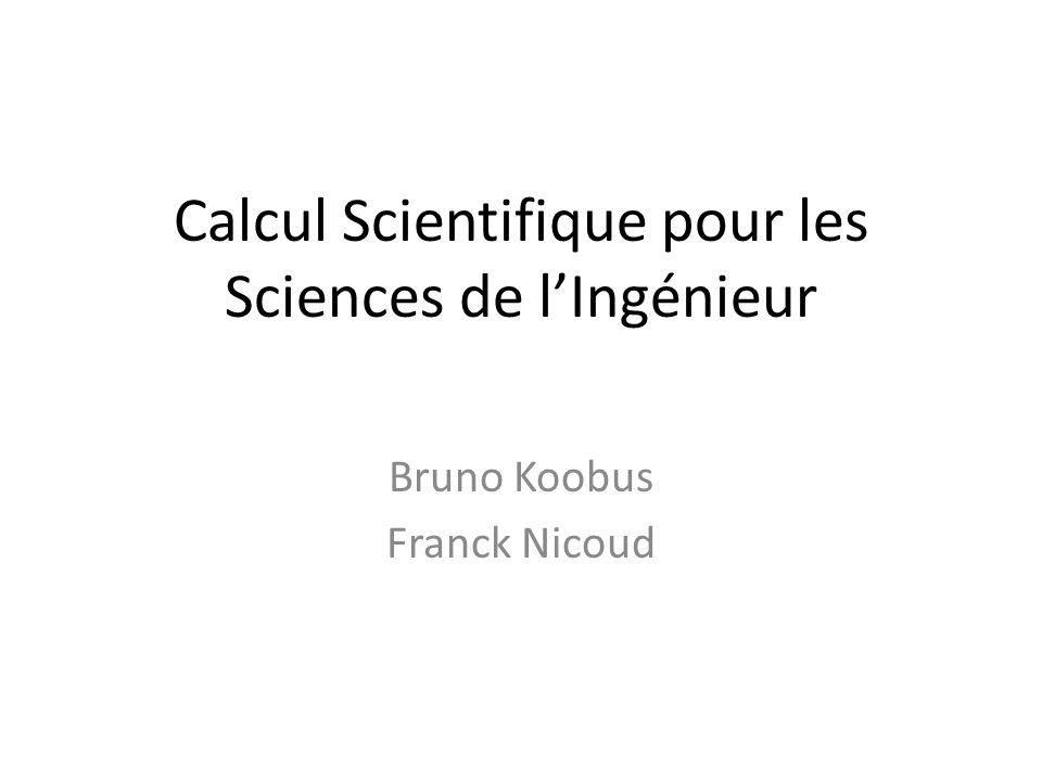 Calcul Scientifique pour les Sciences de lIngénieur Bruno Koobus Franck Nicoud