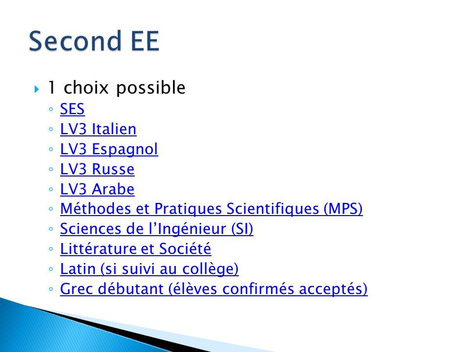 1 choix possible SES LV3 Italien LV3 Espagnol LV3 Russe LV3 Arabe Méthodes et Pratiques Scientifiques (MPS) Sciences de lIngénieur (SI) Littérature et