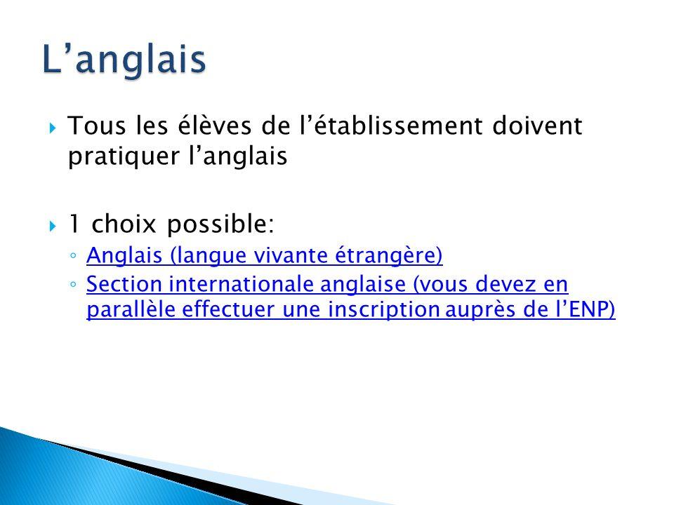 Tous les élèves de létablissement doivent pratiquer langlais 1 choix possible: Anglais (langue vivante étrangère) Section internationale anglaise (vou