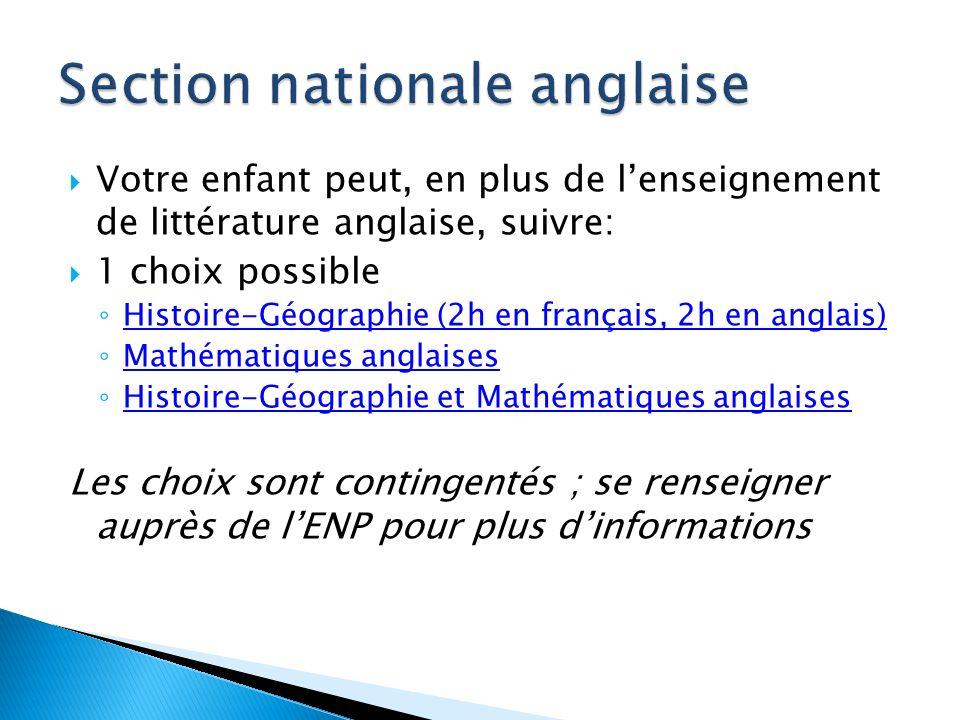 Votre enfant peut, en plus de lenseignement de littérature anglaise, suivre: 1 choix possible Histoire-Géographie (2h en français, 2h en anglais) Math