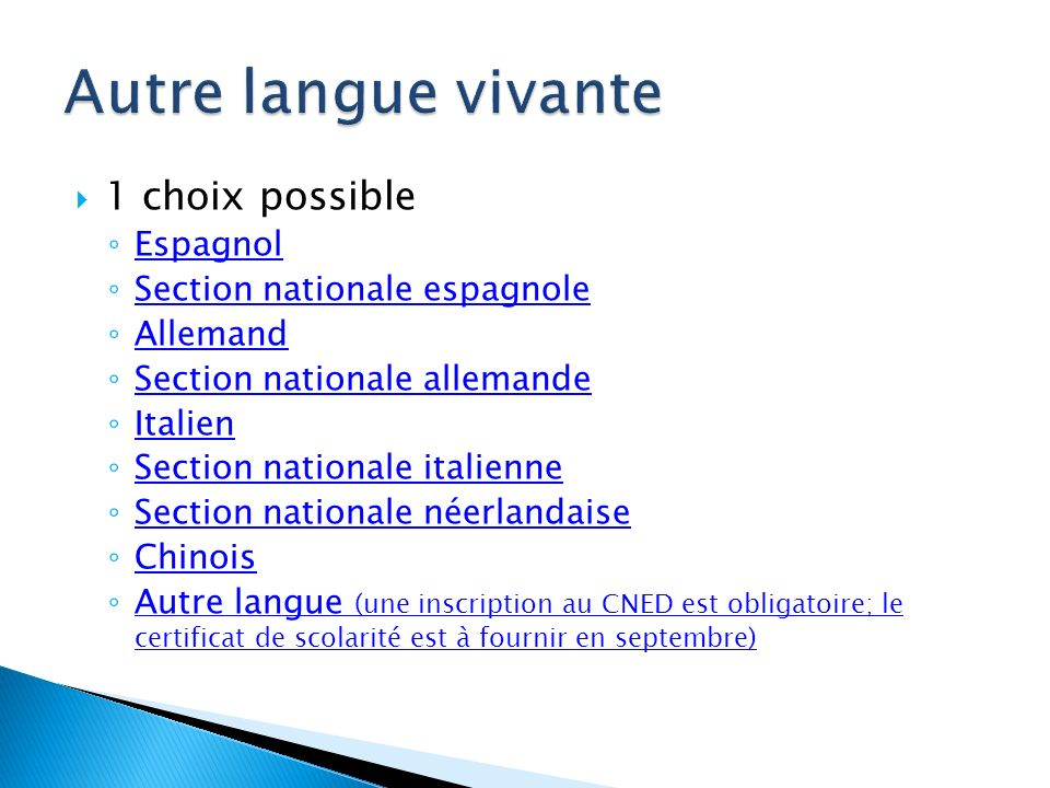 1 choix possible Espagnol Section nationale espagnole Allemand Section nationale allemande Italien Section nationale italienne Section nationale néerl