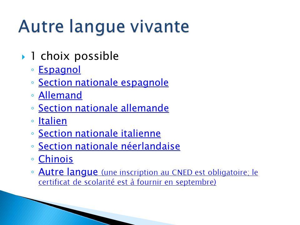 1 choix possible Espagnol Allemand Italien Chinois Autre langue (une inscription au CNED est obligatoire; le certificat de scolarité est à fournir en septembre) Autre langue (une inscription au CNED est obligatoire; le certificat de scolarité est à fournir en septembre)